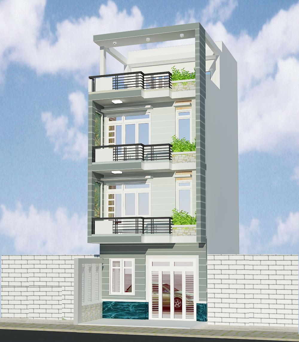 Bản vẽ nhà phố 4 tầng diện tích 5x9 tại Gò Vấp