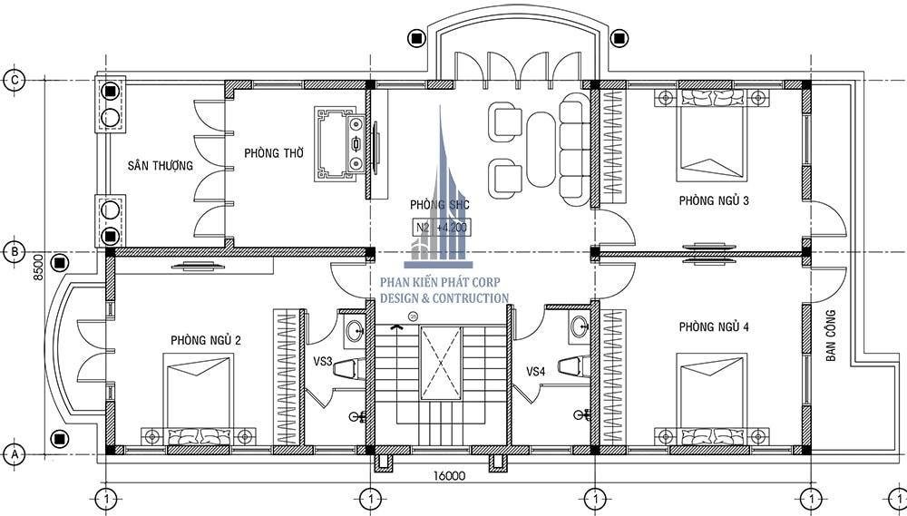 Mặt bằng lầu 1 biệt thự 2 tầng