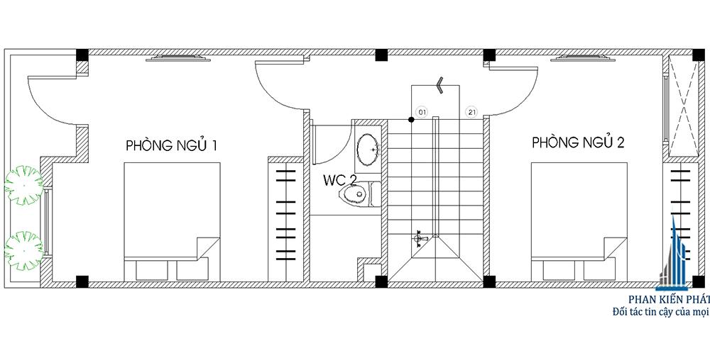 Mặt bằng lầu 1 nhà phố 3 tầng diện tích 4x12m