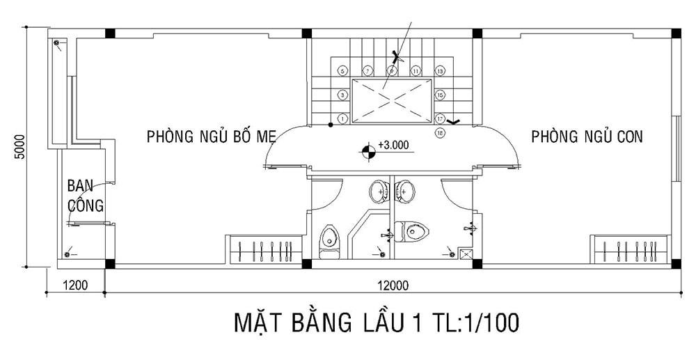 Mặt bằng lầu 1 nhà phố 3 tầng diện tích 5x16m