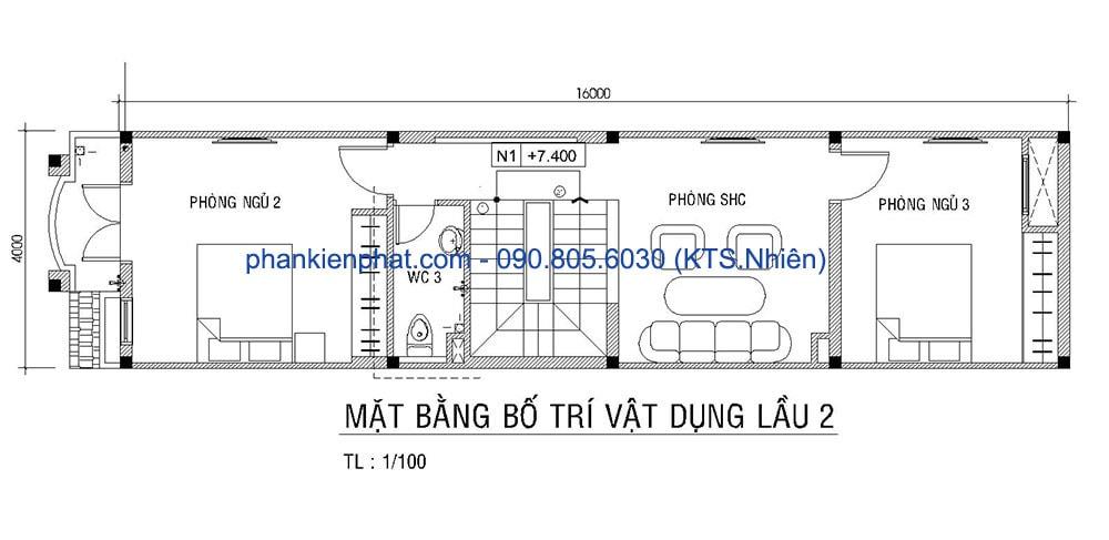 Mặt bằng lầu 2 nhà phố diện tích 4x16m