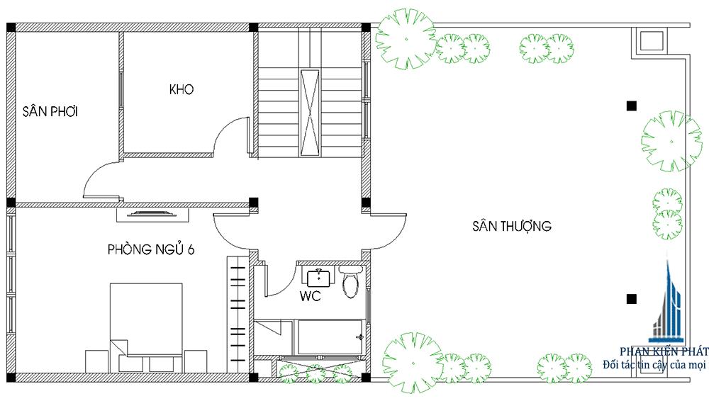 Mặt bằng tầng 4 biệt thự hiện đại 4 tầng diện tích 8x16m