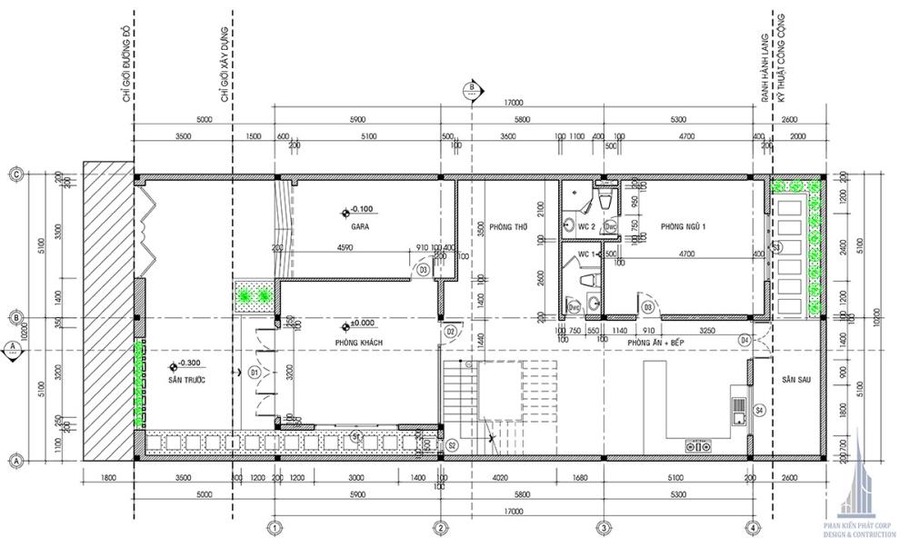 Mặt bằng tầng trệt biệt thự hiện đại 10x24m