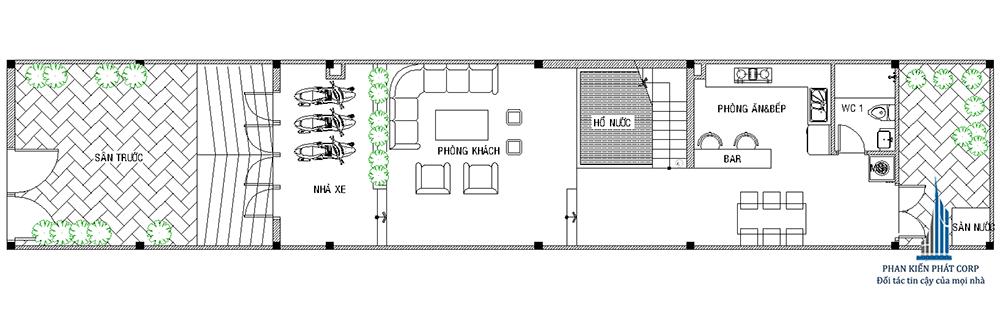 Mặt bằng tầng trệt nhà phố 3 tầng đẹp