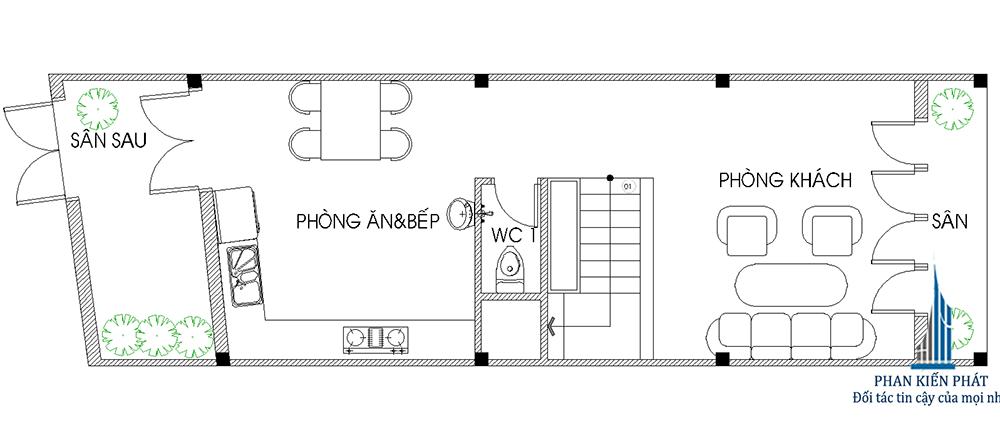 Mặt bằng tầng trệt nhà phố 4 tầng diện tích 4x15m