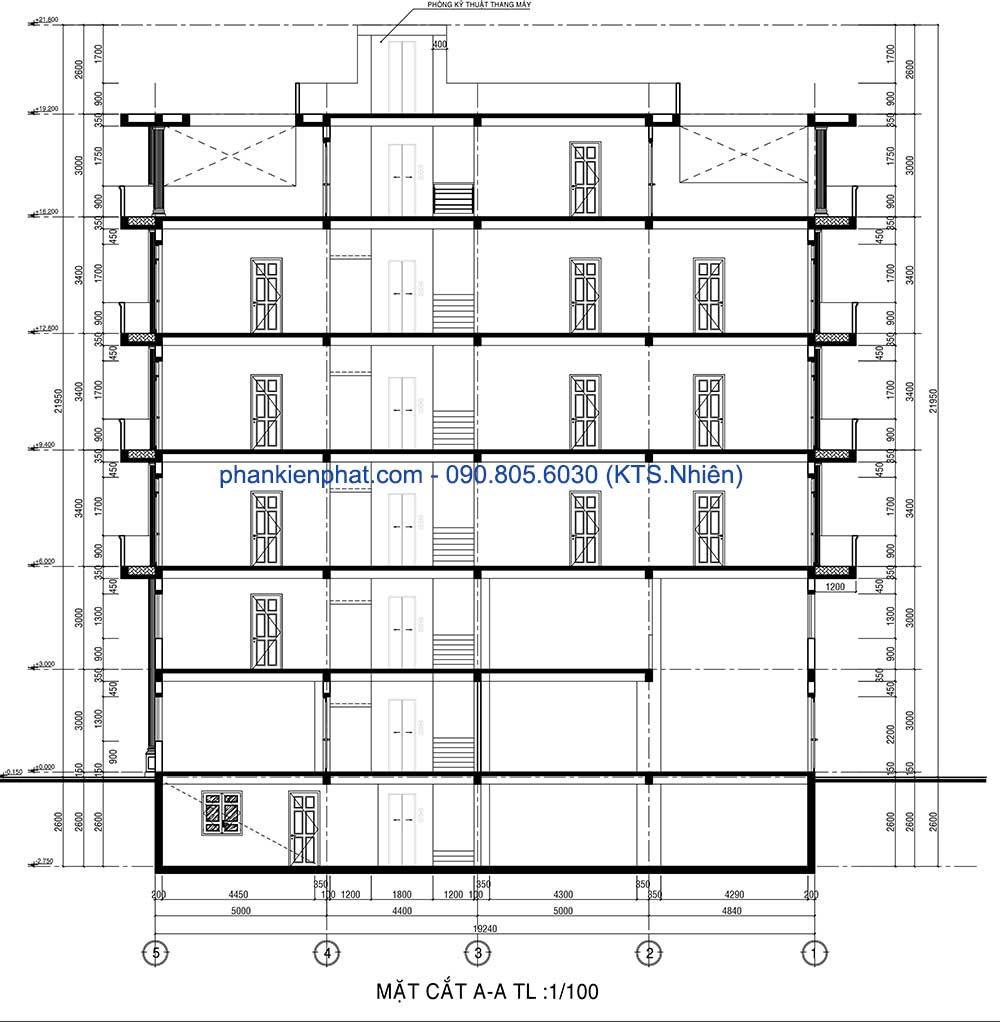 Mặt cắt A-A khách sạn 7 tầng tại Gò Vấp
