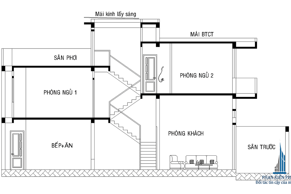 Mặt cắt nhà phố lệch tầng diện tích 4x15m
