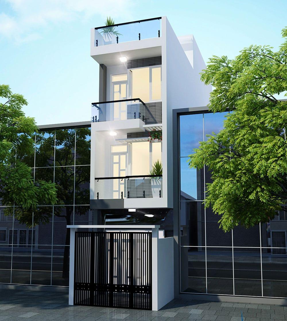 Mẫu nhà phố 4 tầng 4x15m hiện đại với gam trắng sang trọng