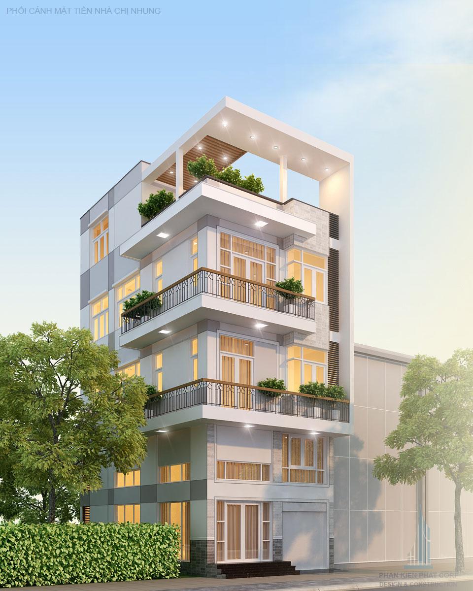 Mẫu nhà phố 4 tầng đẹp tại quận 7