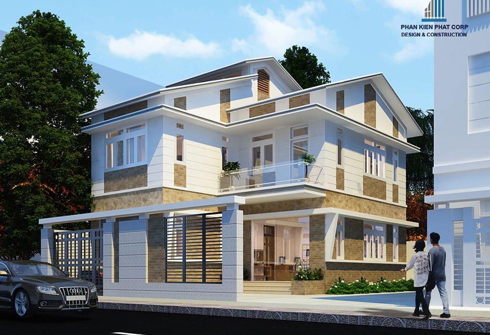 Mẫu biệt thự 2 tầng mái thái diện tích 8x12m đẹp hiện đại