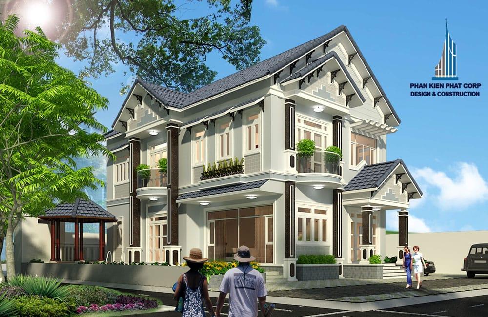 Thiết kế biệt thự 2 tầng mái thái bán cổ điển