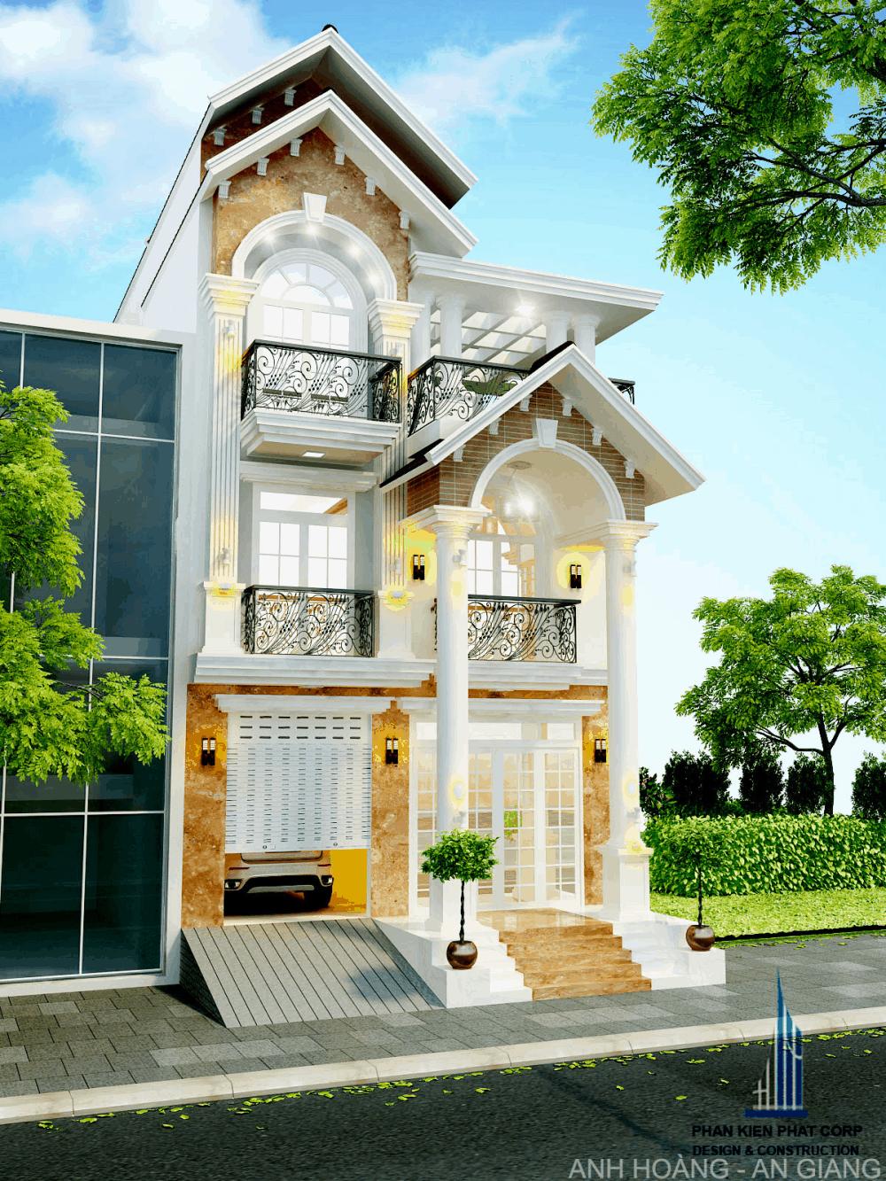 Mẫu thiết kế biệt thự 3 tầng 7 x 26,5m tại An Giang
