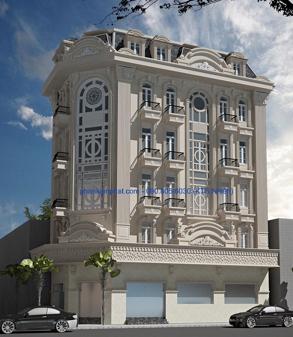 Mẫu thiết kế biệt thự kiểu Pháp đẹp 16,4x7,6m