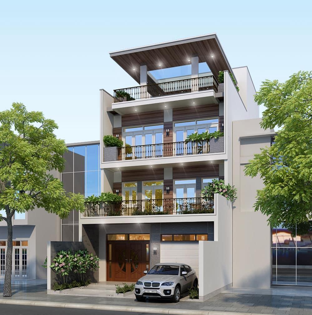 Mẫu thiết kế biệt thự phố 4 tầng diện tích 8x16,5m tại Tân Phú