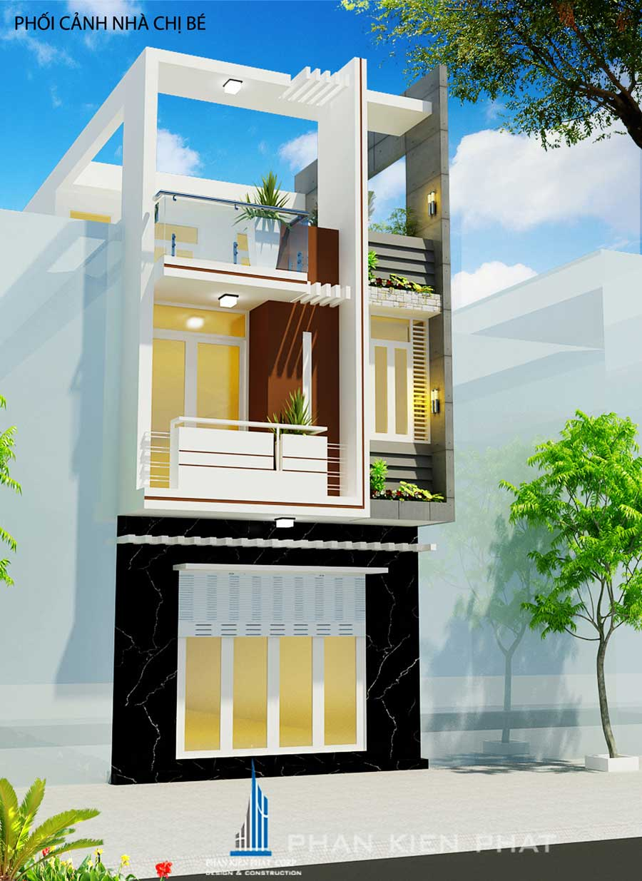 Mẫu thiết kế nhà 3 tầng tại Bình Thuận của chị Bé