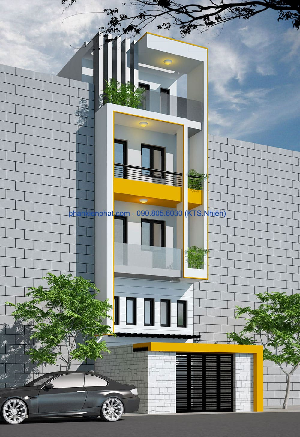 Mẫu thiết kế nhà đẹp 4 tầng 4,7x12m tại quận 2