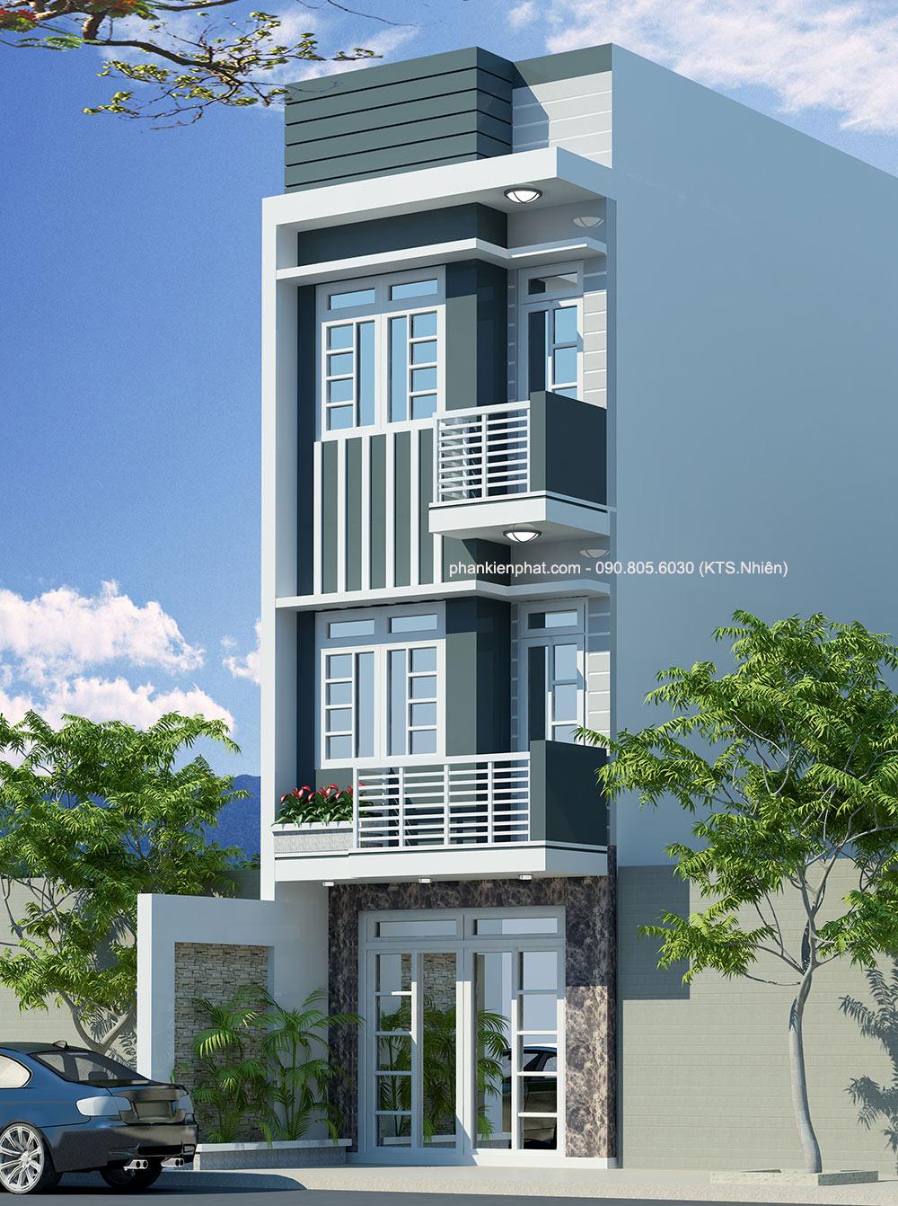 Mẫu thiết kế nhà lệch tầng 4x14,5m