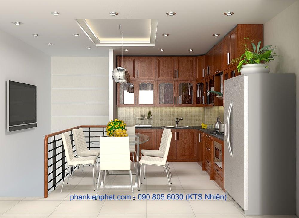 Mẫu thiết kế phòng ăn và bếp góc view 1