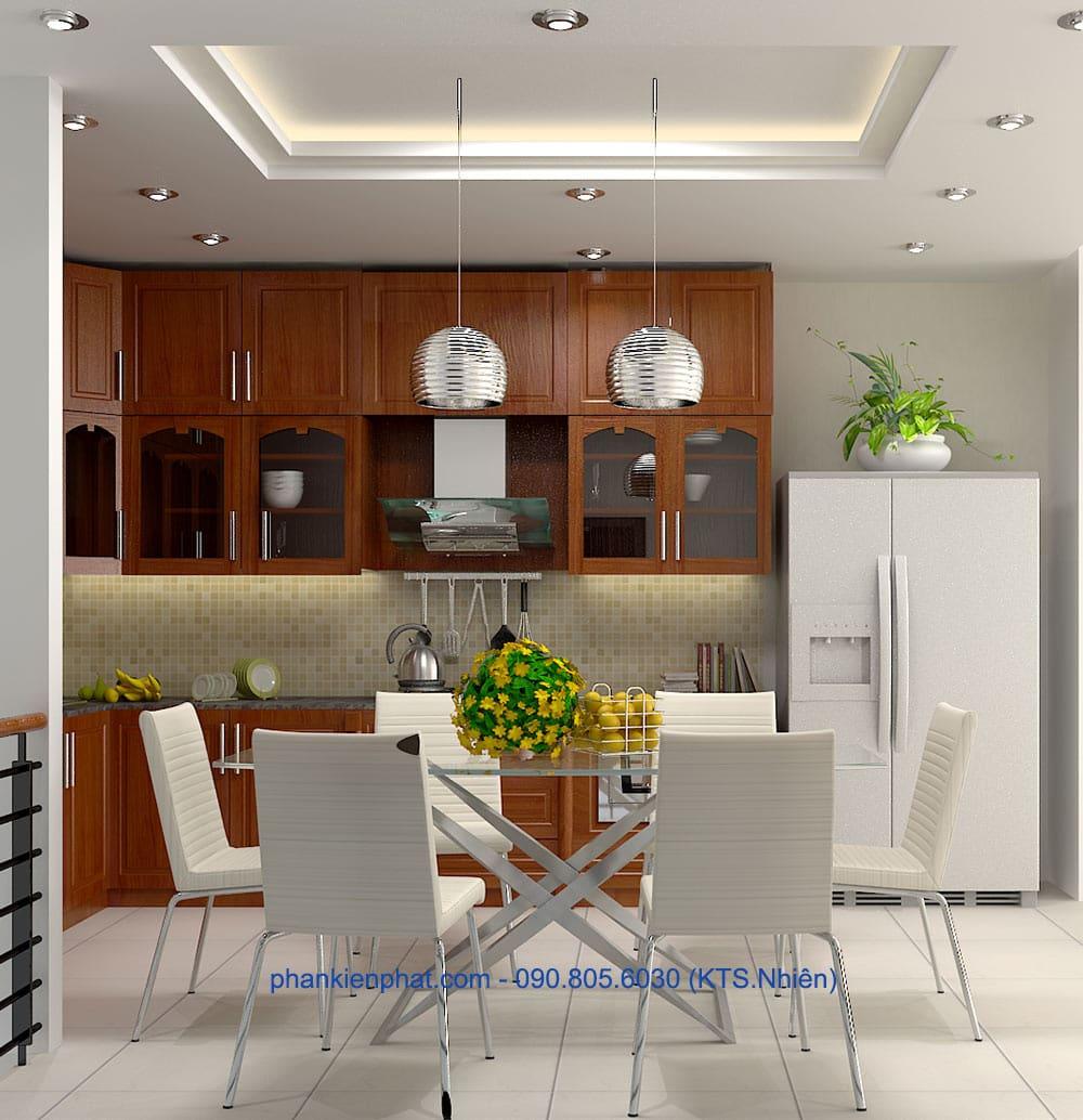Mẫu thiết kế phòng ăn và bếp góc view 2