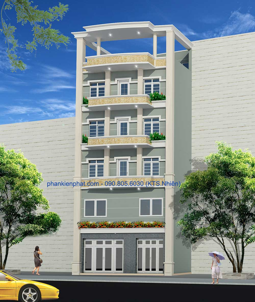 Mẫu thiết khách sạn 7 tầng của anh Mười tại Gò Vấp