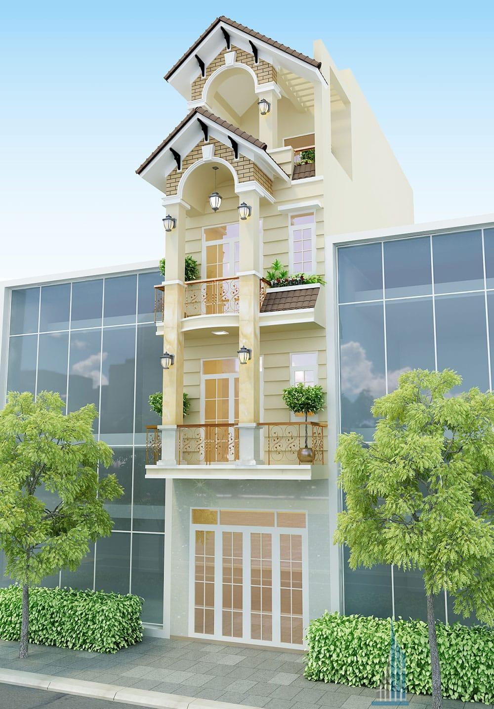 Nhà phố 4 tầng mái chữ A diện tích 4x16m đẹp
