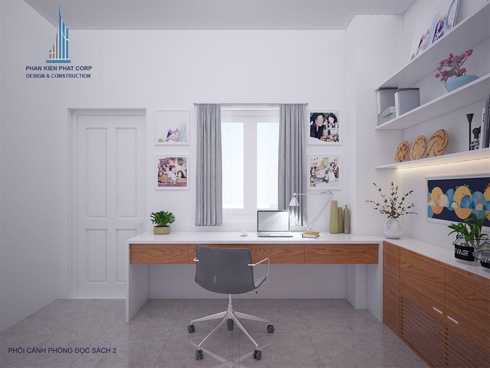 Phối cảnh 3D phòng đọc sách nhà phố 4 tầng view 2
