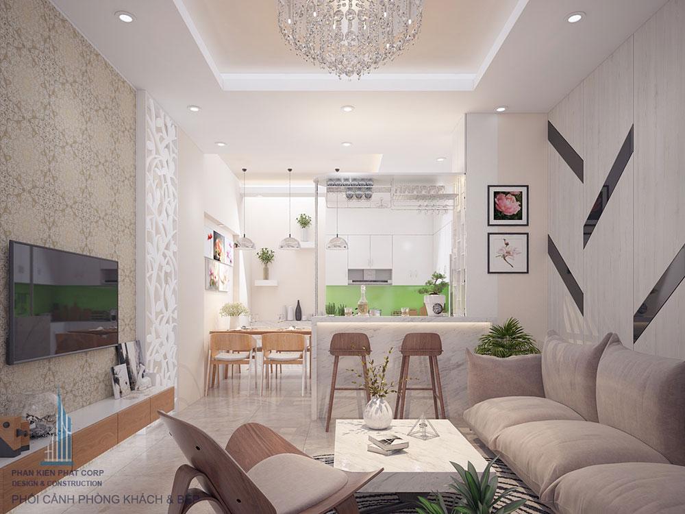 Phối cảnh 3D phòng khách nhà phố 4 tầng view 1