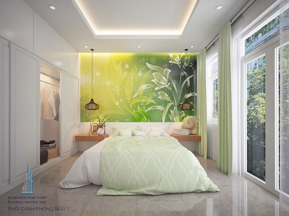 Phối cảnh 3D phòng ngủ 1 nhà phố 4 tầng view 1