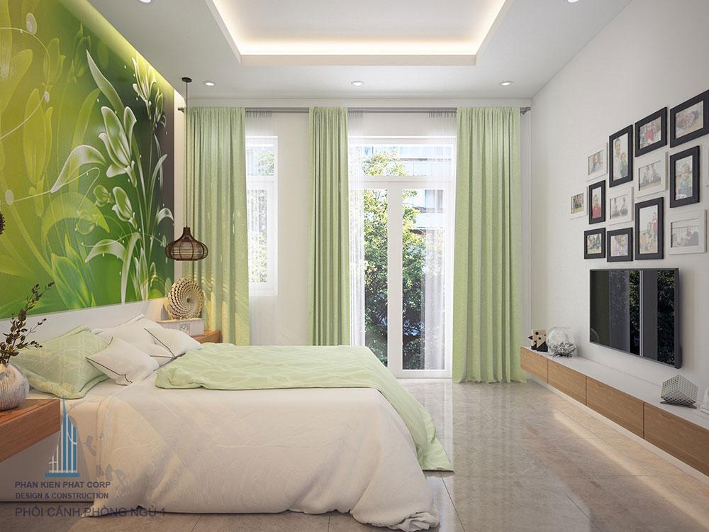 Phối cảnh 3D phòng ngủ 1 nhà phố 4 tầng view 2