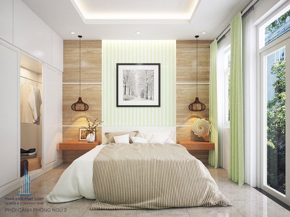Phối cảnh 3D phòng ngủ 2 nhà phố 4 tầng diện tích 4x16m view 1