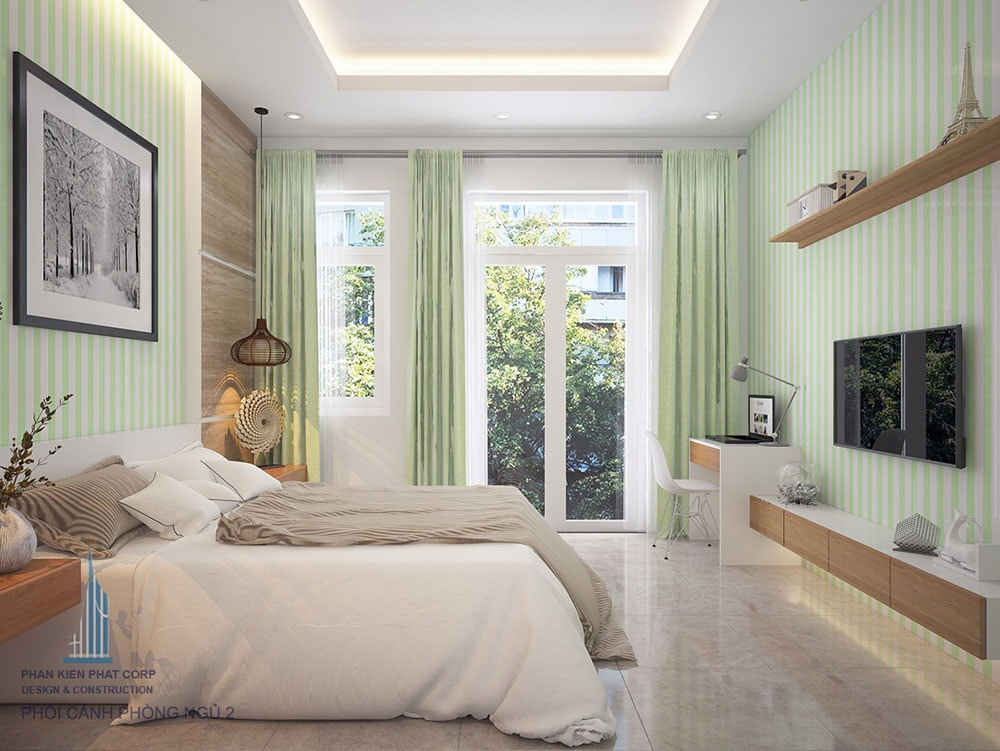 Phối cảnh 3D phòng ngủ 2 nhà phố 4 tầng diện tích 4x16m view 2