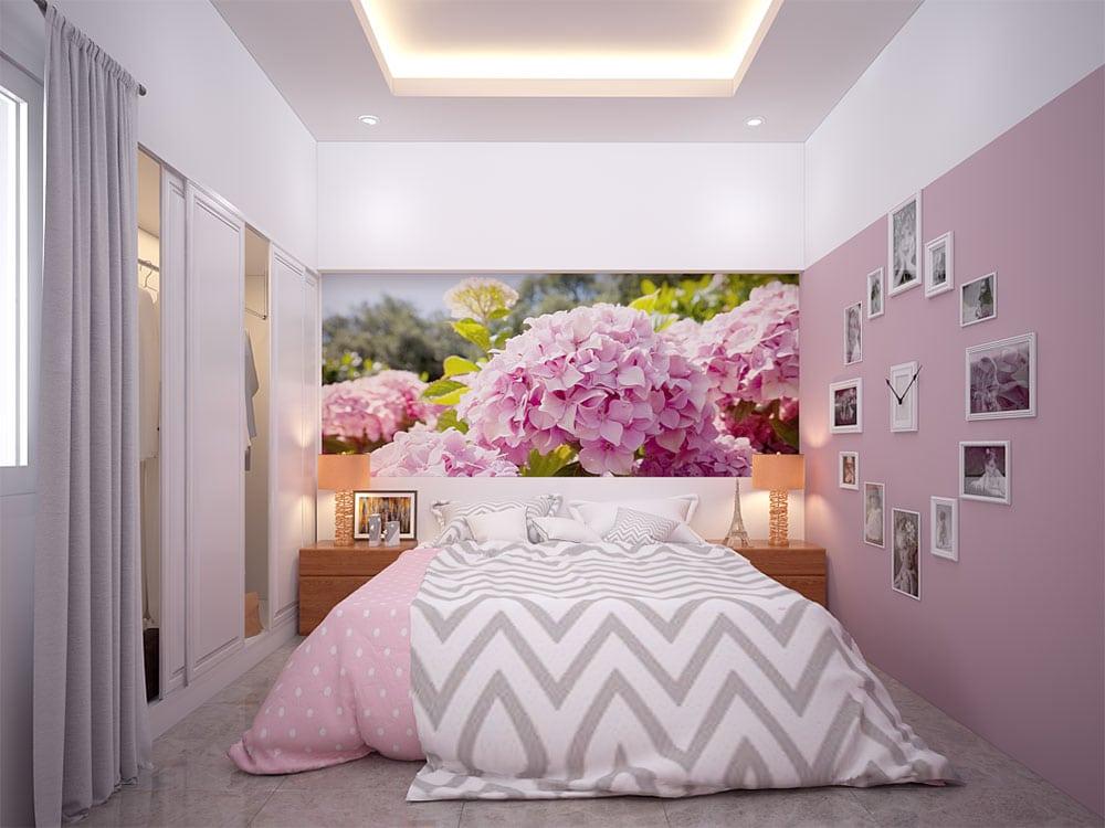 Phối cảnh 3D phòng ngủ 3 nhà phố 4 tầng diện tích 4x16m view 1