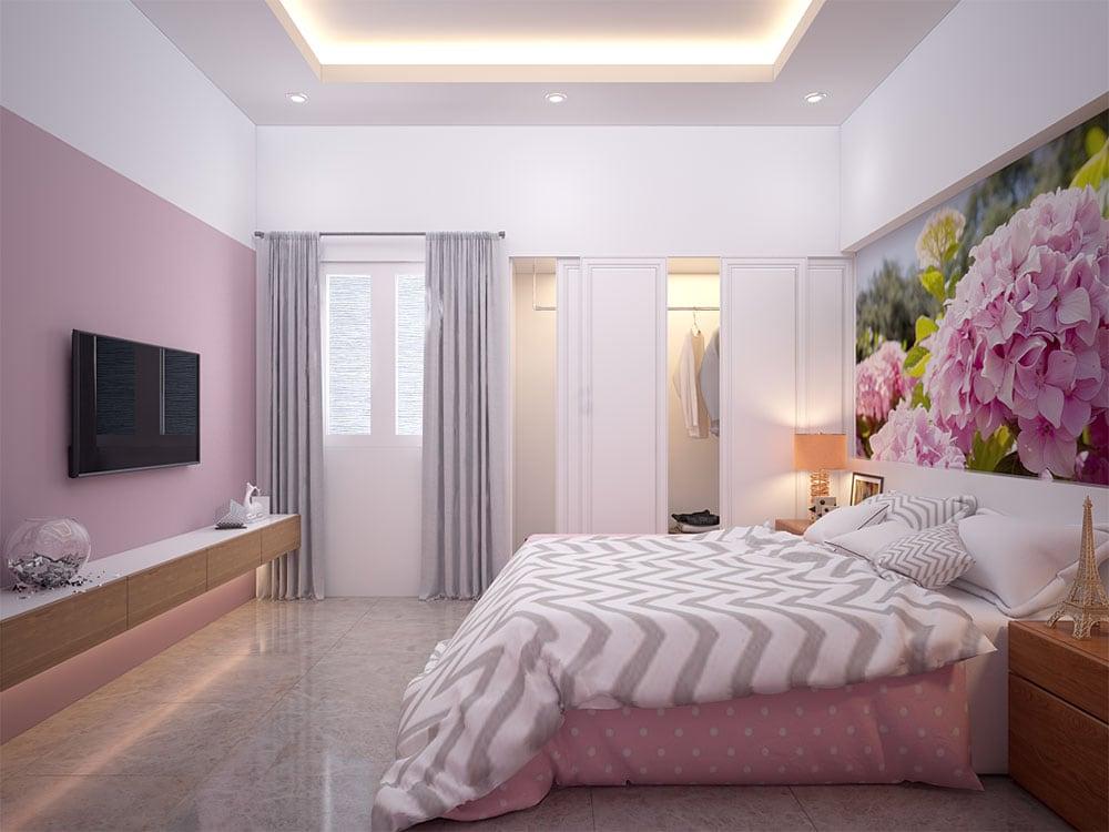Phối cảnh 3D phòng ngủ 3 nhà phố 4 tầng diện tích 4x16m view 2