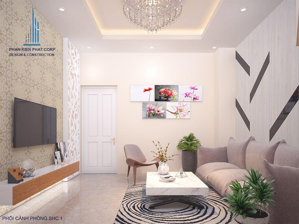 Phối cảnh 3D phòng sinh hoạt chung nhà phố diện tích 4x16m view 1