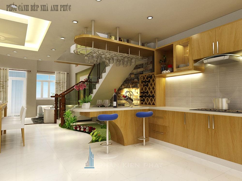 Phối cảnh bếp và quầy bar