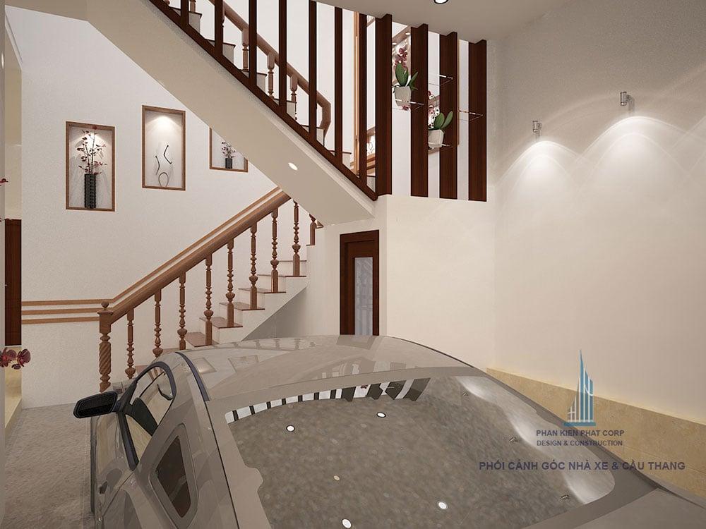 Phối cảnh cầu thang biệt thự 3 tầng bán cổ điển góc nhìn 2