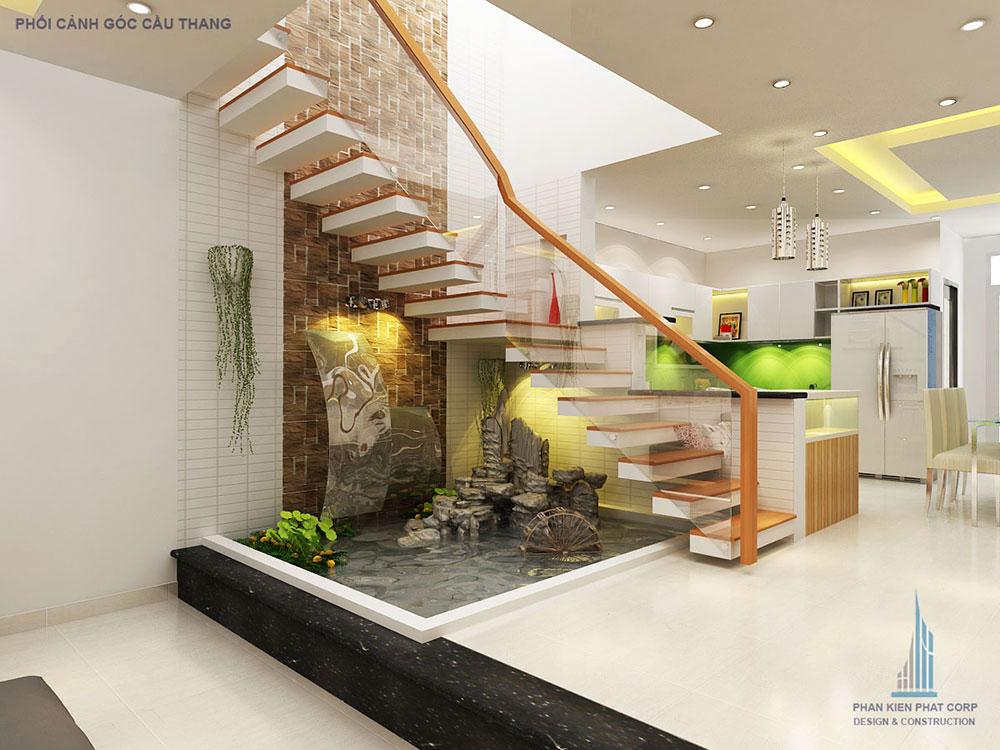 Phối cảnh cầu thang nhà phố 3 tầng