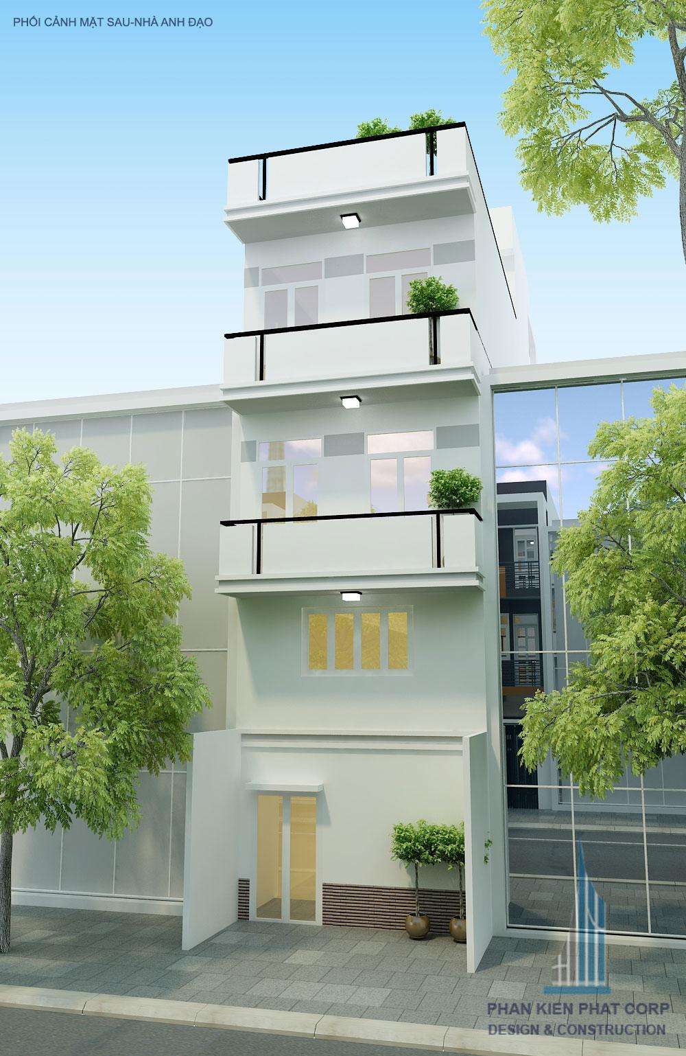 Phối cảnh mặt sau bản vẽ nhà phố 4 tầng diện tích 4x15m