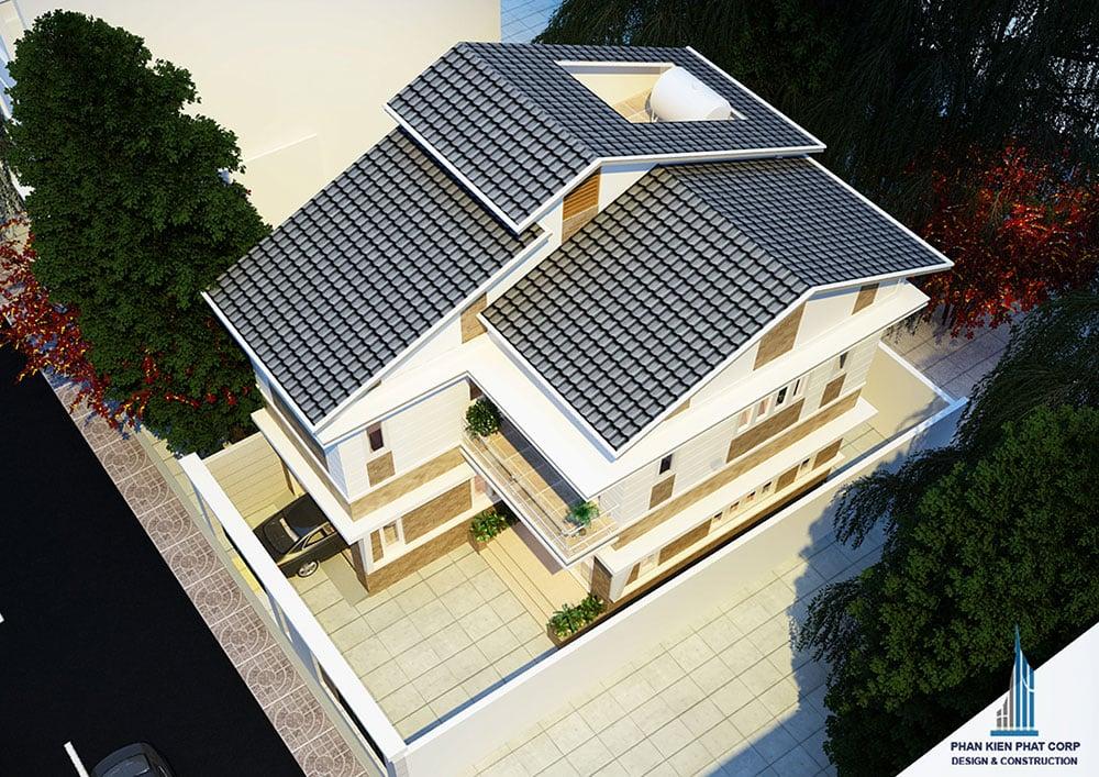 Phối cảnh mặt tiền biệt thự 2 tầng mái thái góc nhìn 3