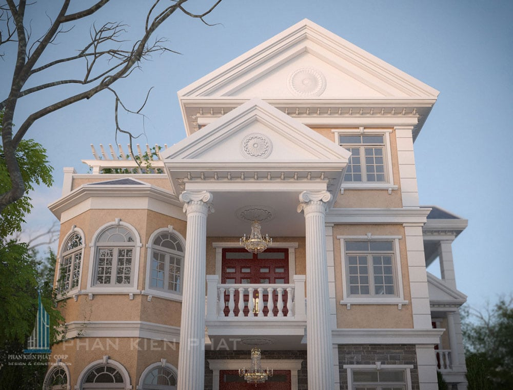 Phối cảnh mặt tiền biệt thự cổ điển góc nhìn 2