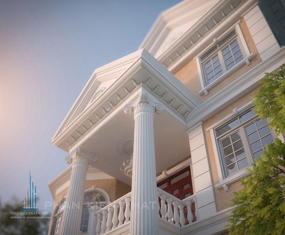 Phối cảnh mặt tiền biệt thự cổ điển góc nhìn 3