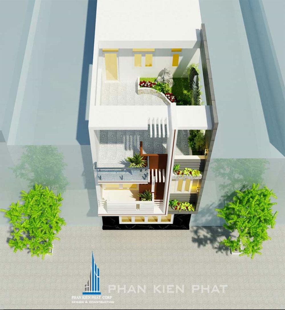 Phối cảnh mặt tiền nhà phố 3 tầng góc view 2
