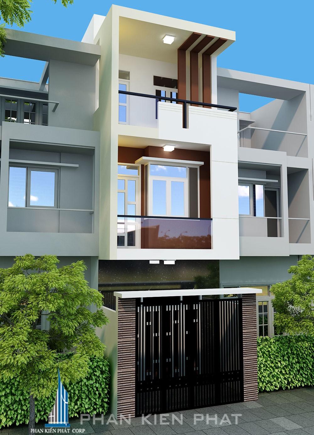 Phối cảnh mặt tiền nhà phố 3 tầng diện tích 48m vuông tại Gò Vấp