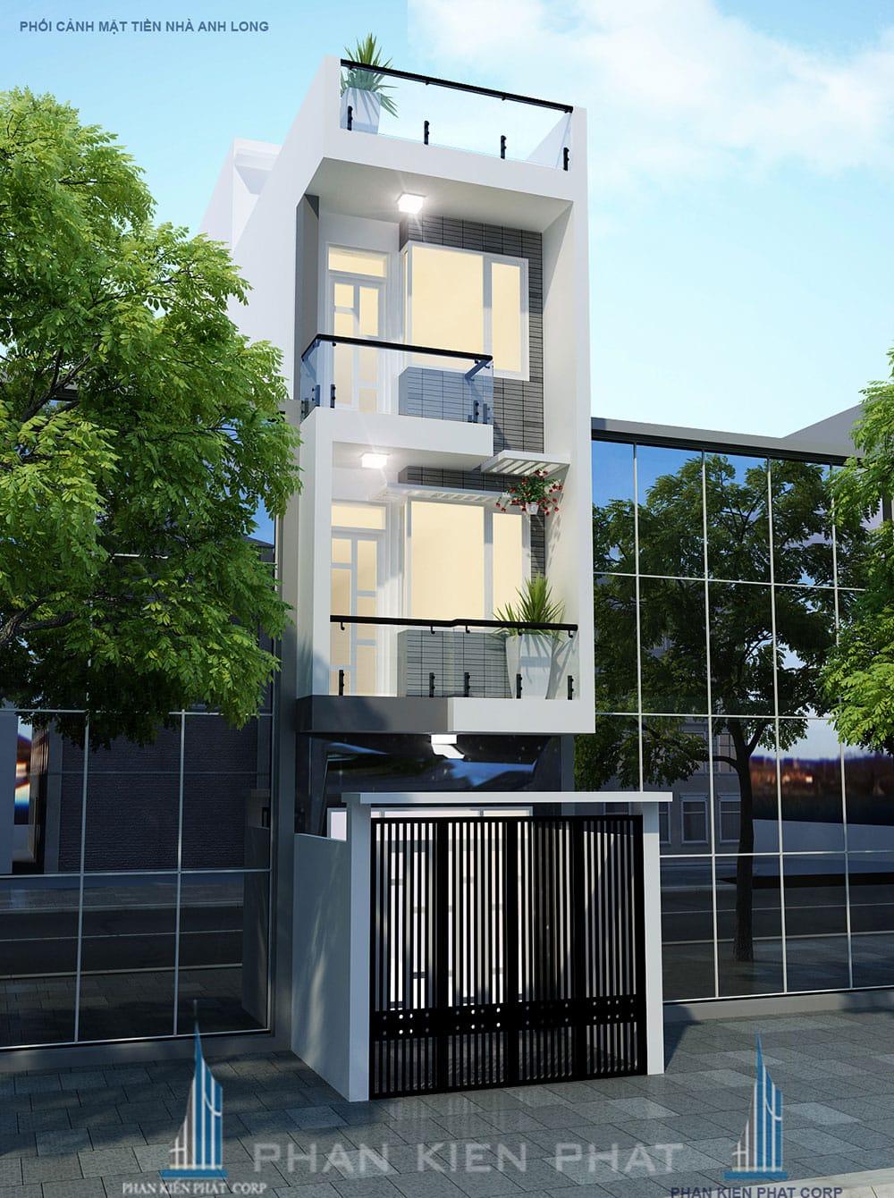 Phối cảnh mặt tiền nhà phố 4 tầng diện tích 4x15m góc nhìn 2