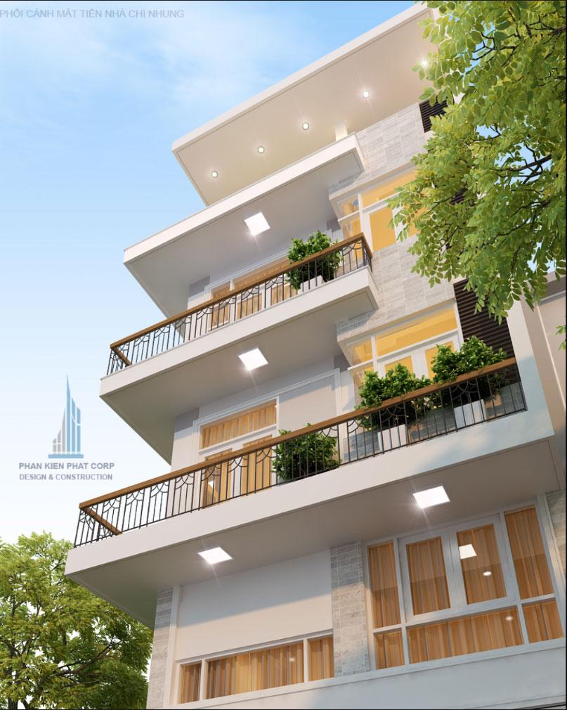 Phối cảnh mặt tiền nhà phố 4 tầng góc 3