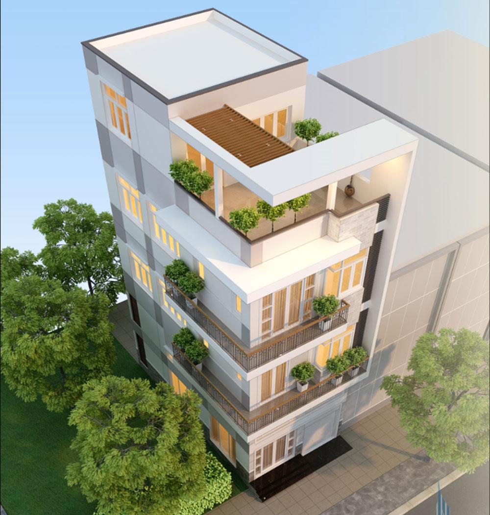 Phối cảnh mặt tiền nhà phố 4 tầng góc 4