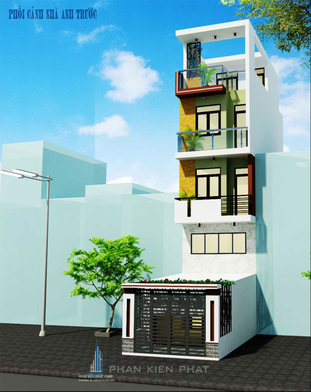 Phối cảnh mặt tiền nhà phố 4 tầng góc view 2