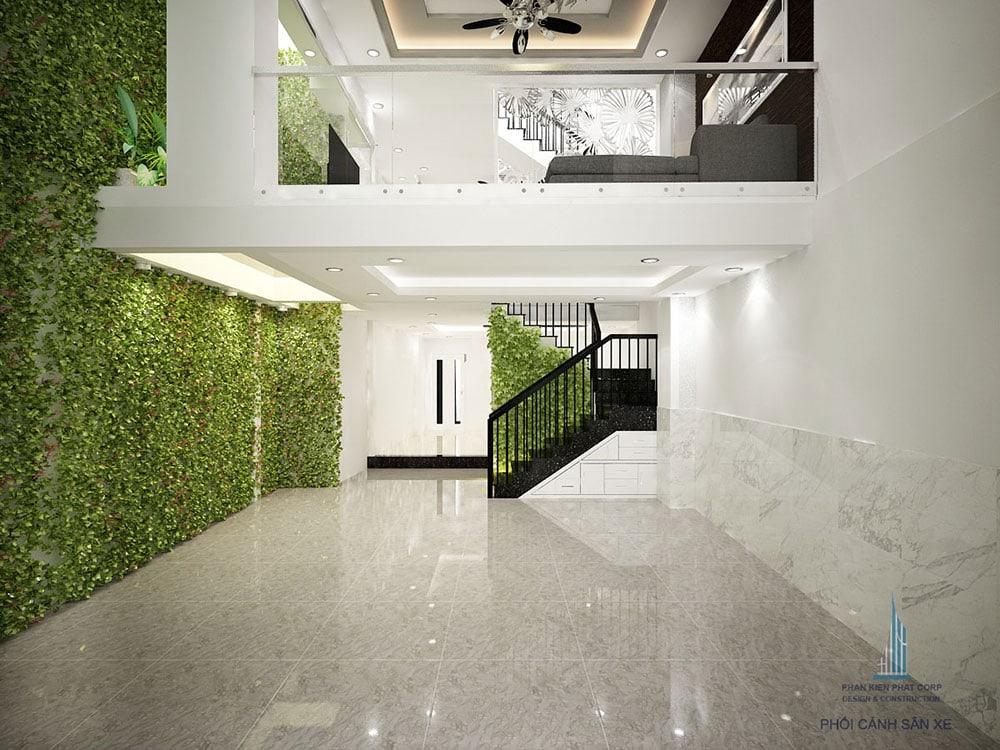 Phối cảnh nhà để xe tầng trệt nhà phố 5 tầng diện tích 5x12m tại Tân Bình