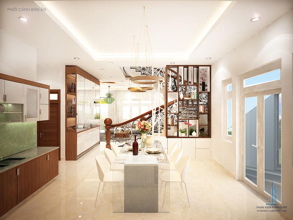 Phối cảnh phòng ăn và bếp biệt thự 3 tầng hiện đại góc nhìn 1