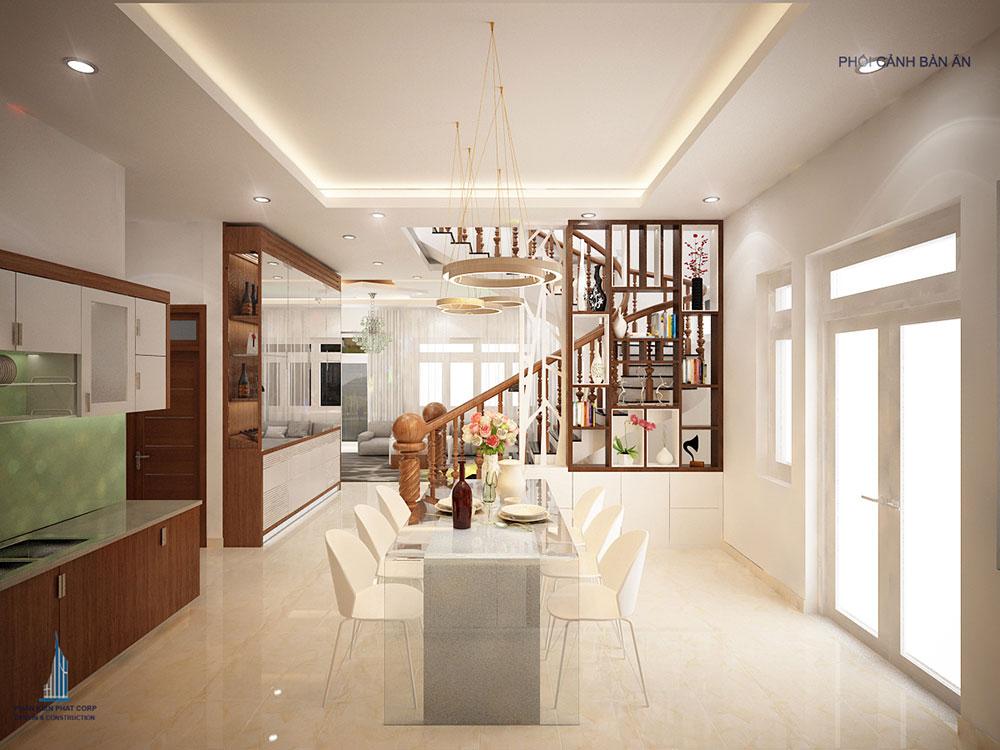 Phối cảnh phòng ăn và bếp biệt thự 3 tầng hiện đại góc nhìn 2